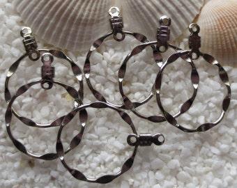 Rhodium Plated Brass Earring Pendant Drop - 20mm - 6 pcs
