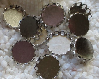 Brass Lace Edge Cabochon Settings - Platinum Plated Round - 12mm - 25 pcs