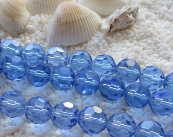 Glass Beads - Faceted -  11mm - Blue - 30 pcs