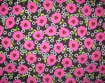 "Jackie Shapiro Modern Grace  hot pink  and white flowers on black 22"" X 42"""