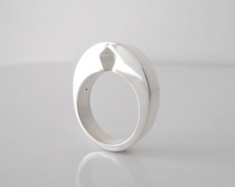 New Diamond - sterling silver ring polished finish