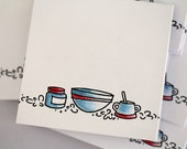 Recipe kitchen mini cards. Set of 8. Hand stamped and handcolored.