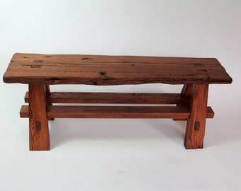 Rustic Live Edge Reclaimed Barn Wood Sitting Bench