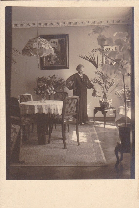 Watering the house plants home interior 1920s vintage for Home decor 1920s