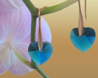 Teal Blue Heart  Earrings  Chic Trendy Fashion Jewelry