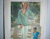 Vintage Hippie Boho 1975 Simplicity Jiffy Sewing Pattern Size 12 Bust 34 Front Wrap Top Blouse Shirt Kimono Sleeves