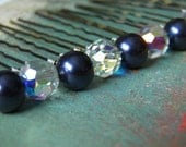 12 Swarovski 10mm Night Navy Blue Pearls and Crystals AB Hair Pins