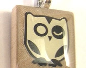 Yellow Owl Scrabble Pendant