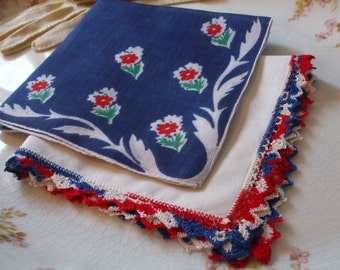 Hankies Set of Two Floral Red White Blue Crochet Edge Handkerchiefs