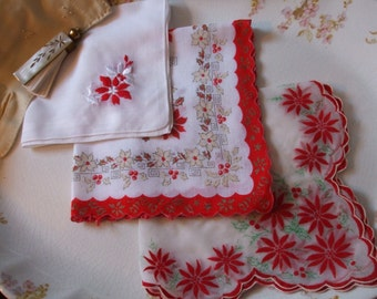 Christmas Hankies Set of Three Poinsettias Embroidered Printed Flocked Handkerchiefs