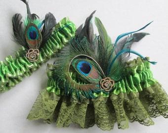 Irish Green Lace Wedding Garter Set, AVOCADO Green Garter, Kiwi / Lime Green Garters, Peacock Garter, Rustic Garter, Irish Bride