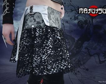 Japanese Skirt Mini Wrap Sakura Silver