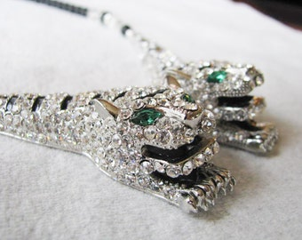 Double White Tiger Rhinestone and Crystal Necklace with Black Czech Beads Pageant Jewelry
