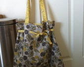 Large Cinched Tote in Grey and Yellow
