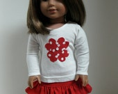 American Girl Style Doll Clothes -Ruffled Red Skirt and Heart Bouquet Long Sleeve T-Shirt