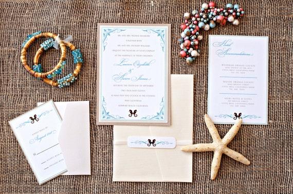 Etsy Beach Wedding Invitations: Items Similar To Elegant Beach Wedding Invitation Suite