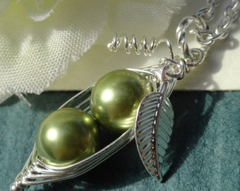 Two Green Peas In A Pod Silver Necklace