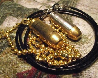 40 S&W Real Bullet brass or nickel pendant with Faux leather or ball chain necklace.