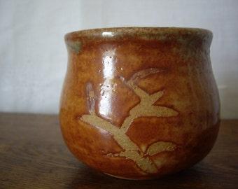 Studio Mid Century Stoneware Pot // Ceramic Planter // Asian Theme