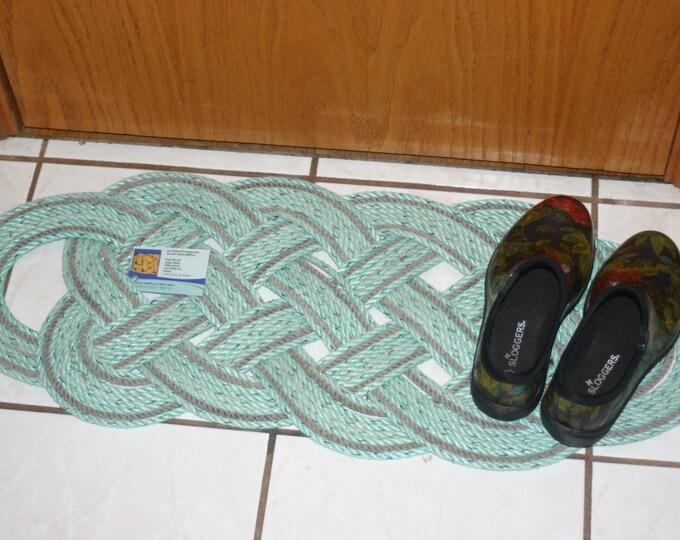 Green & Gray Door Mat Recycled Rope 31 x 12 Rug Doormat  Nautical Beach Rustic Decor Great Gifts