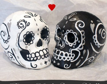 Custom Day of the Dead Skull CUSTOM Bride and Groom decoration cake topper