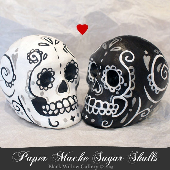 Custom Day of the Dead Skull CUSTOM Bride and Groom decoration cake topper