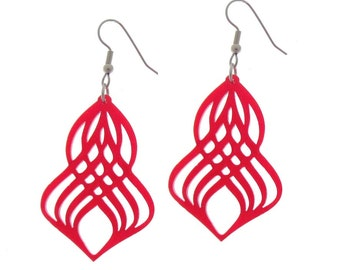 Gorgeous Red Spiral Earrings - Spiral Jewelry - Swirl Jewelry - Casual Jewelry - Red Jewelry - Laser Cut Jewelry - Acrylic Jewelry