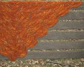 Rusty Xeni - medium shawl/shawlette, orange, rust