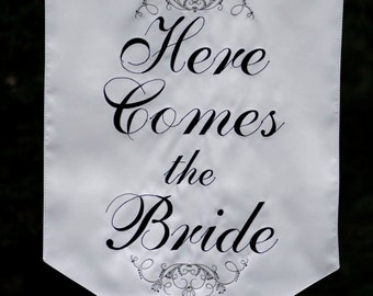 Here Comes the Bride Banner - Two sided