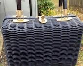 Vintage Lesco Lona Blue Wicker Basket Box Purse Made in Hong Kong