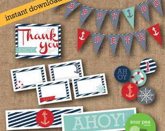 "INSTANT DOWNLOAD: DIY Printables - Party Pack - ""Nautical - Ahoy"""