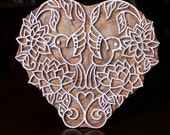 Hand Carved Indian Wood Textile Stamp Block- Love Birds in the Garden (Reduced)