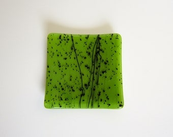 Green with Black Fused Glass Dish