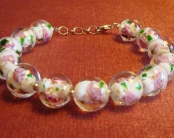 White Lampwork Beaded Bracelet in 925 Sterling Silver White Jewelry Bracelet Glass Beads Floral Bracelet Vintage White and Silver Bracelet