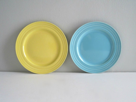Vintage Franciscan China Plates - Turquoise & Yellow - Cottage Chic