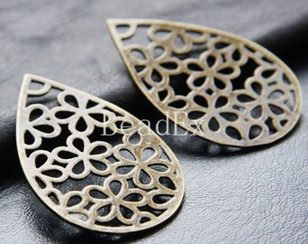 4pcs / Teardrop / Flower / Pendant /  Antique Brass / Base Metal / Charm / 53x34mm (YB26278//K125)