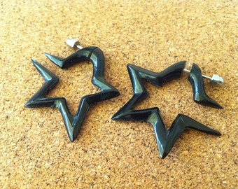Carved Organic Tribal Horn fake earrings STAR Spiral 1 Pair - Fake Gauge Earrings