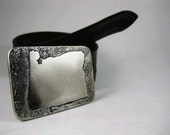 Portland Belt Buckle - Etched Stainless Steel - Handmade