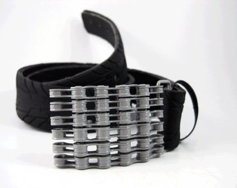 Recycled Bike Chain Belt Buckle- Curved- Grey Finish