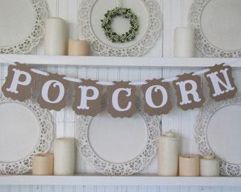 POPCORN Banner, Wedding Banner, Birthday Banner, Movie Night, Popcorn Sign, Wedding Sign, Popcorn Bar