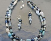 Necklace & Earrings Beaded Jewelry Womans Necklace Chunky Mint Bead Mix