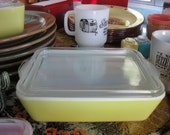 Bright Yellow Pyrex refrigerator dish(Reserved for Elizabeth)