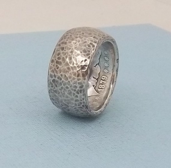 one of a s day gift silver coin ring
