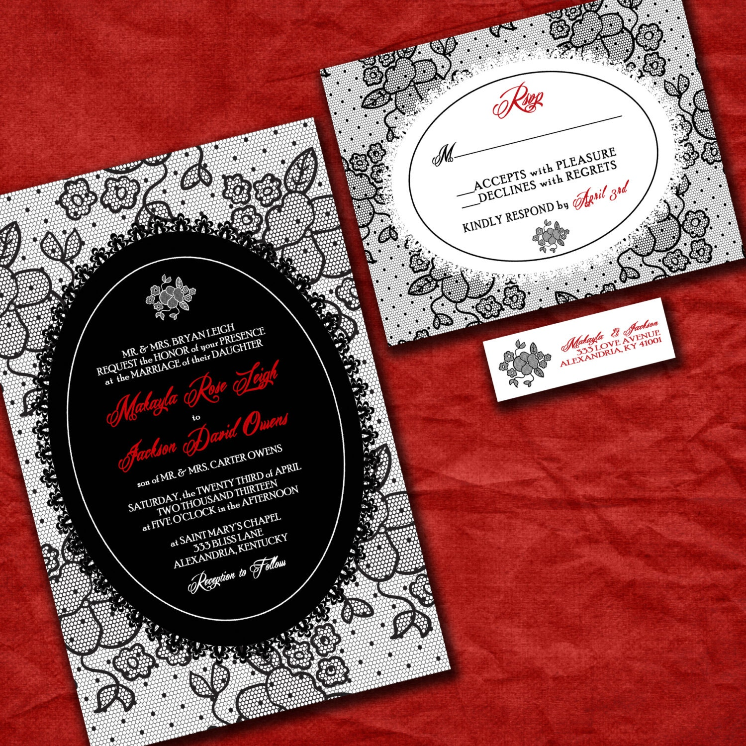Lace Wedding Invitation Suite With RSVP Cards And Address