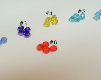 Your Choice ... 15 Pieces,  8mm Faceted Crystal Rondelles ... your choice of color