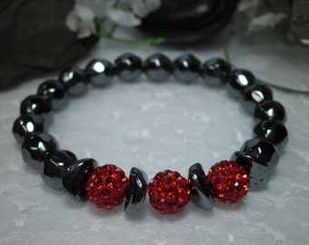 FREE SHIPPING! Red Crystal Hematite Bracelet