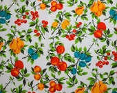 Terry cloth cotton fabric - Cherries, pears, plums and apples