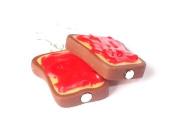 Toast Earrings Strawberry Jelly Toast ( miniature food polymer clay food earrings bread earrings fake food breakfast earrings kawaii cute )