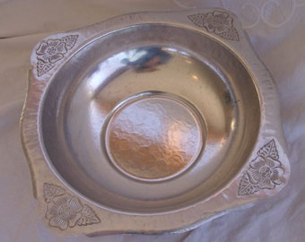 "Vintage Hammered Aluminum ""Wild Rose"" Bowl"