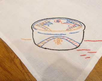 White Cotton Luncheon Cloth with Southwest Style Hand Embroidery
